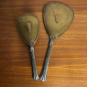 Vintage Silver Vanity Handmirror & Brush